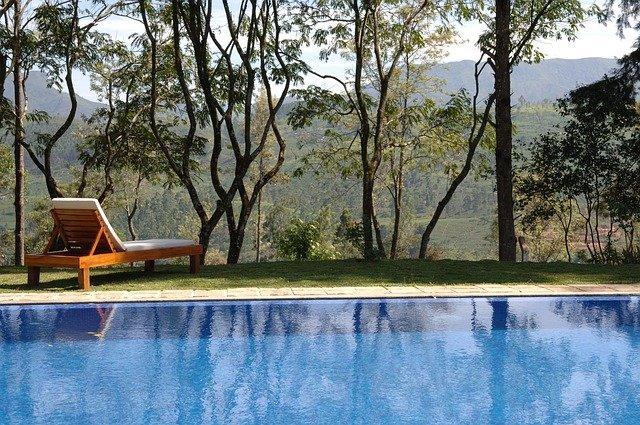 stromy u bazénu