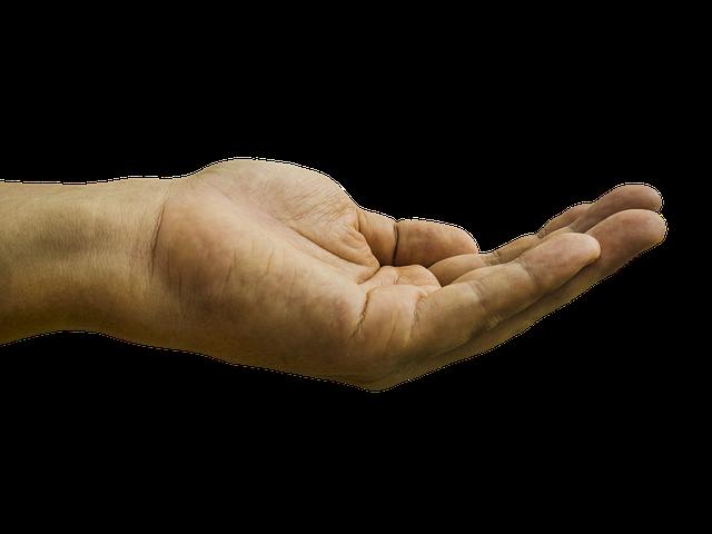 ruka natažená pro peníze
